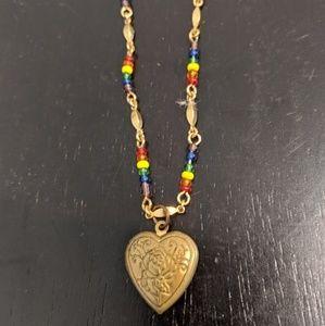 Vintage Rainbow Heart Locket Choker